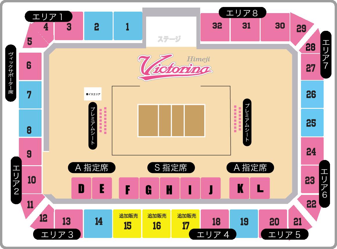 ヴィクトリーナ・ウインク体育館 会場座席ブロック番号 2021.1.16-1.17 追加販売